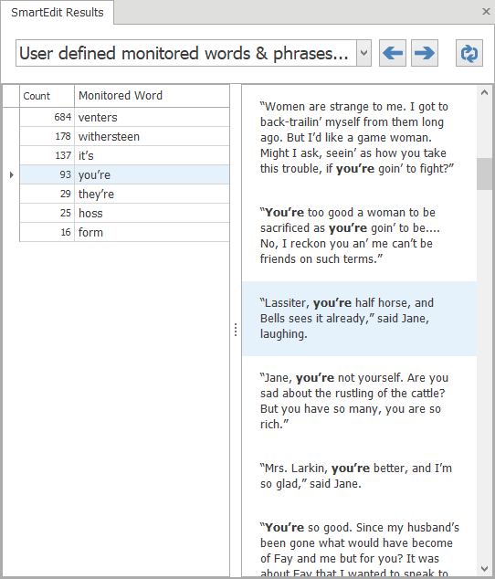 Monitored Words Results