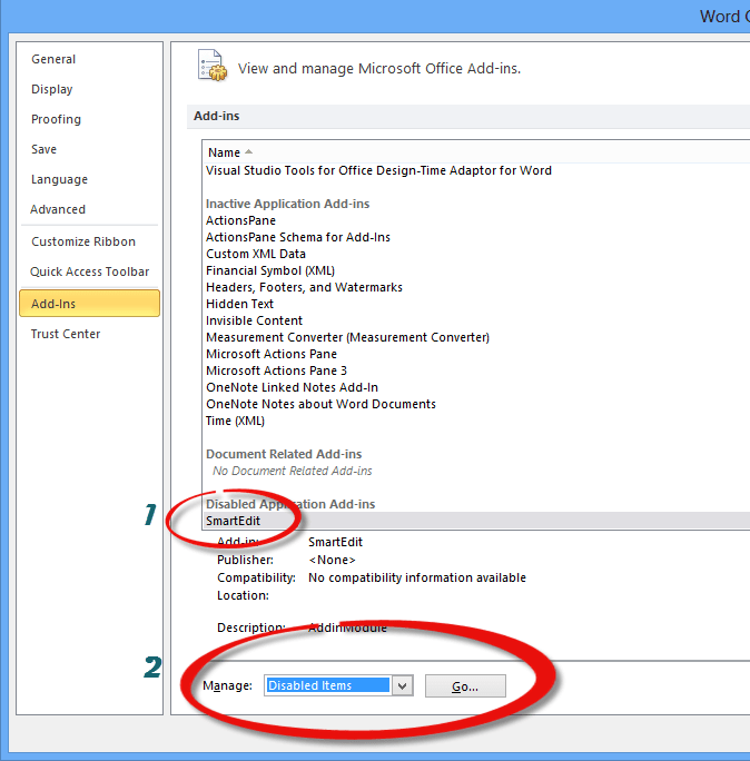Word Options Dialog